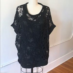 Yigal Azrouël Black Lace Blouse Top